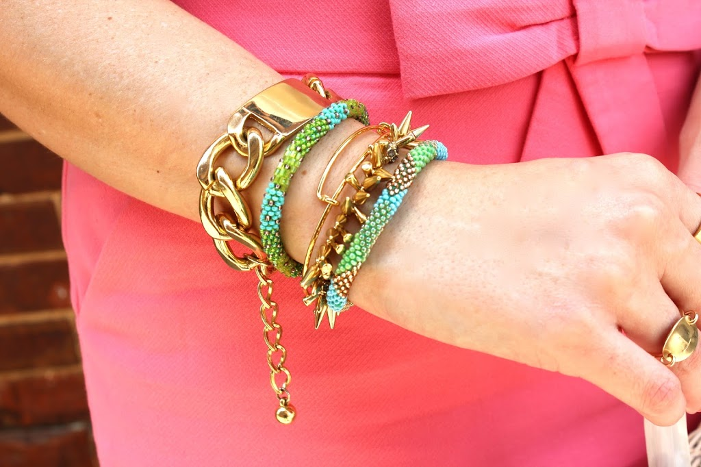 I Tend To Go With All Gold When It Comes Jewels Notice Rings But Love The Pop Of Color These Mae Movements Bracelets Bring My Arm Party